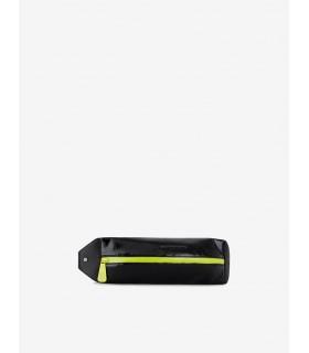 Сумка-бананка чорна лакована з салатовими вставками - Respected-Person