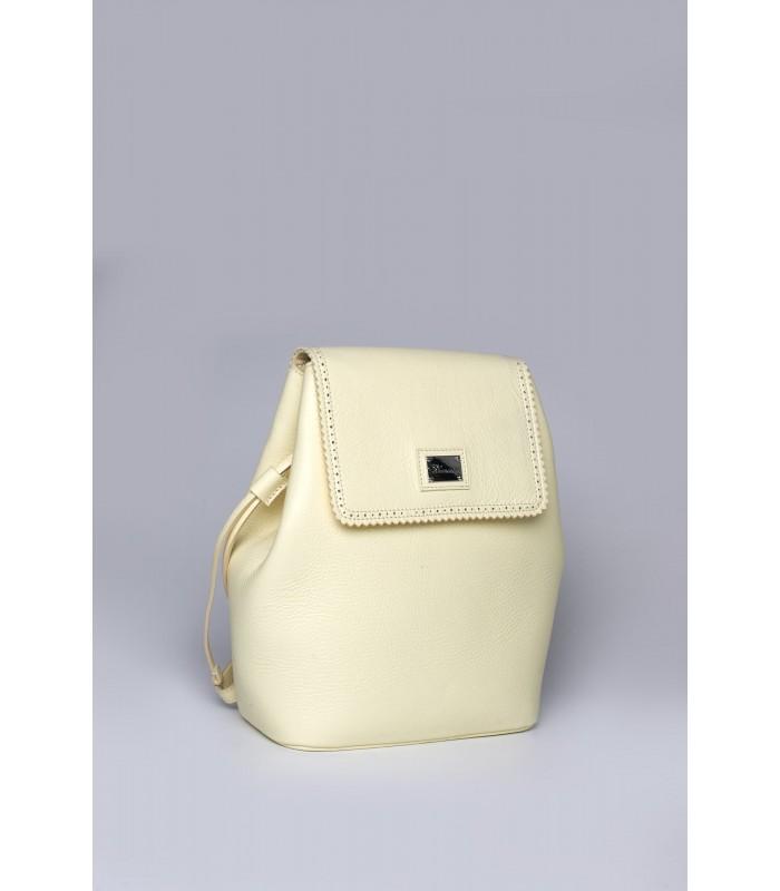 Рюкзак лимонний з натуральної фактурної шкіри
