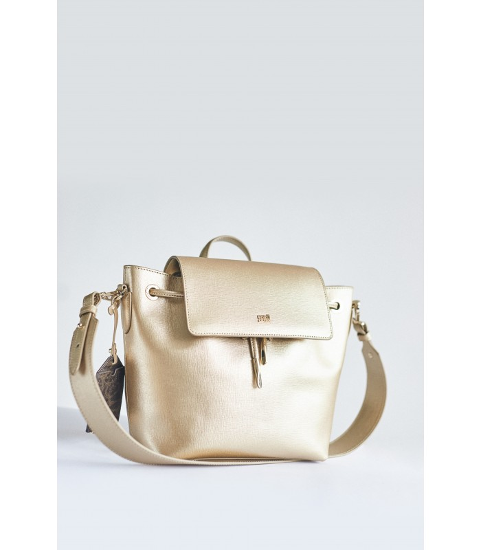 Рюкзак-сумка золотий з натуральної шкіри