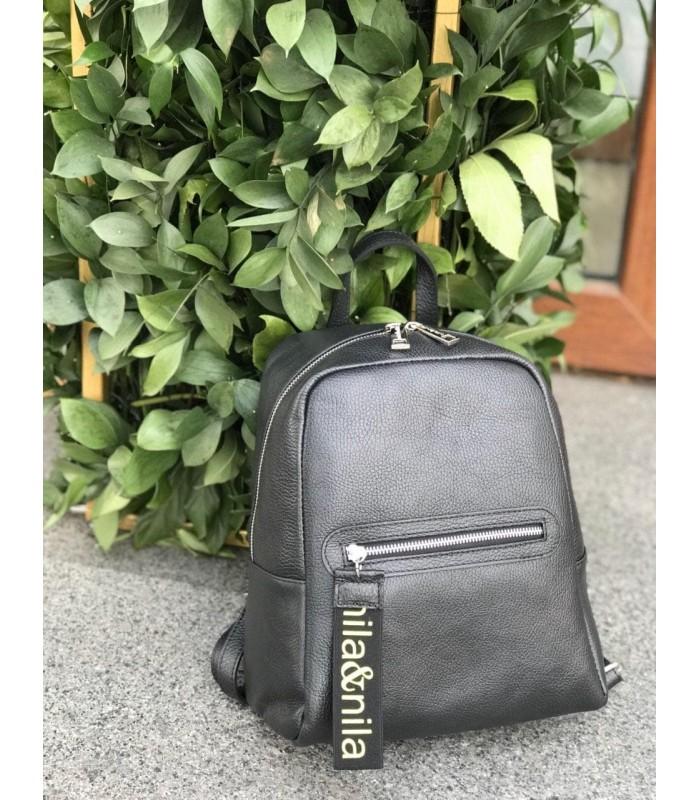 Рюкзак чорний з натуральної шкіри