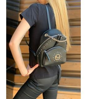 Рюкзак чорний маленький з натуральної фактурної шкіри - Respected-Person