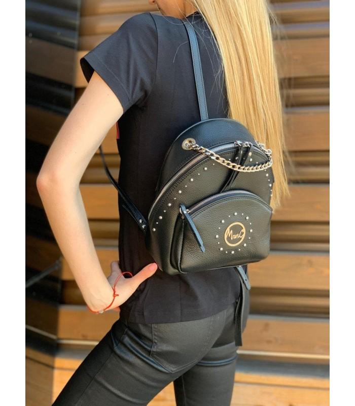 Рюкзак чорний маленький з натуральної фактурної шкіри