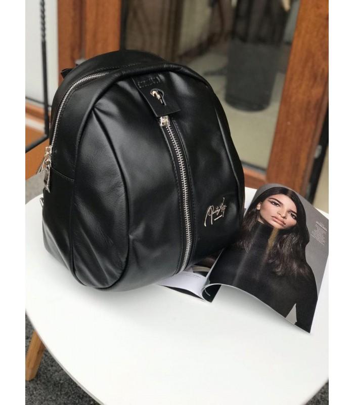Рюкзак чорний з натуральної м`якої шкіри