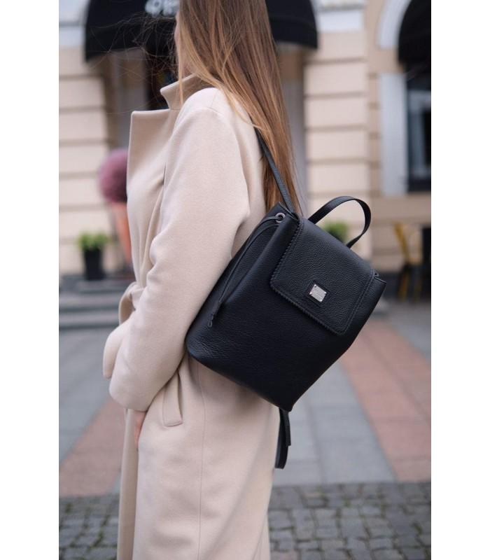 Рюкзак чорний з натуральної фактурної шкіри