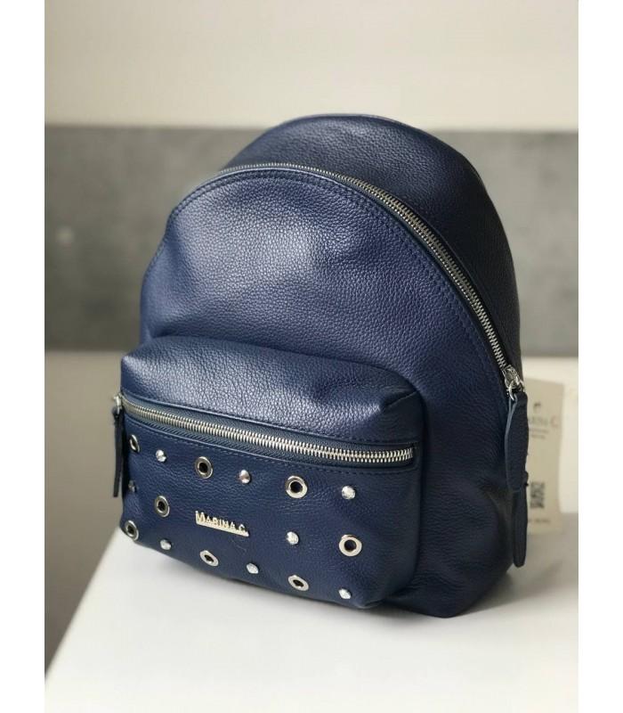 Рюкзак синій з фактурної шкіри