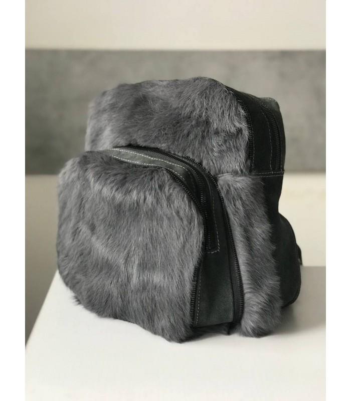 Рюкзак сірий з хутром