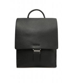 Рюкзак чорний великий з фактурної шкіри