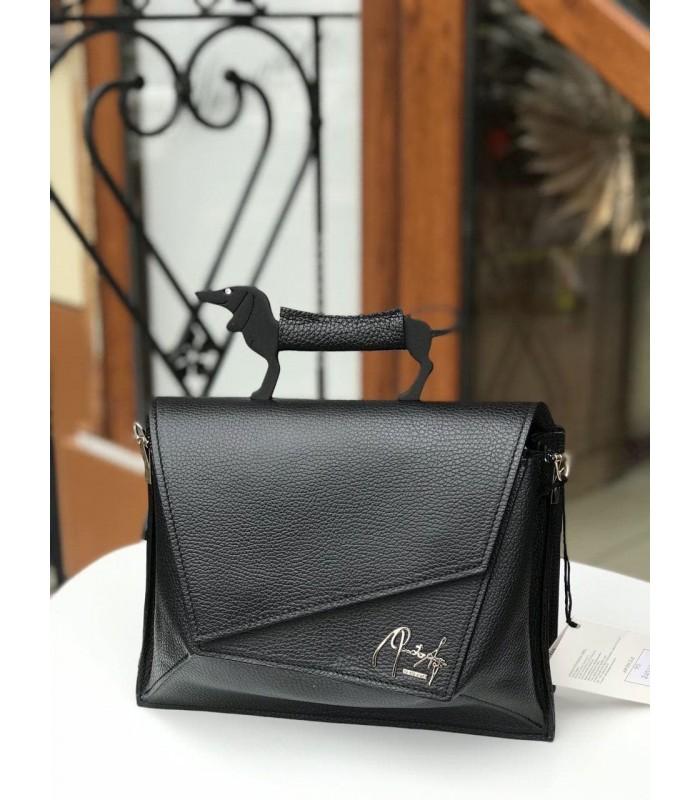 Рюкзак чорна шкіряна з ручкою собаки