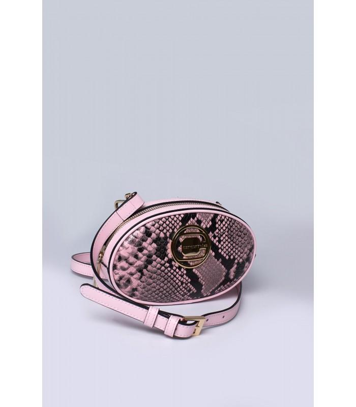 Сумка на пояс рожева із вставками з пітону