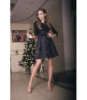Сукня чорна із шкіряними вставками 1 - Respected-Person