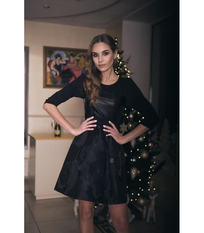 Сукня чорна із шкіряними вставками