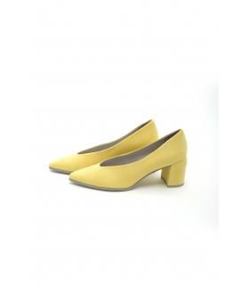 Туфлі лимонні замшеві на широкому каблуку