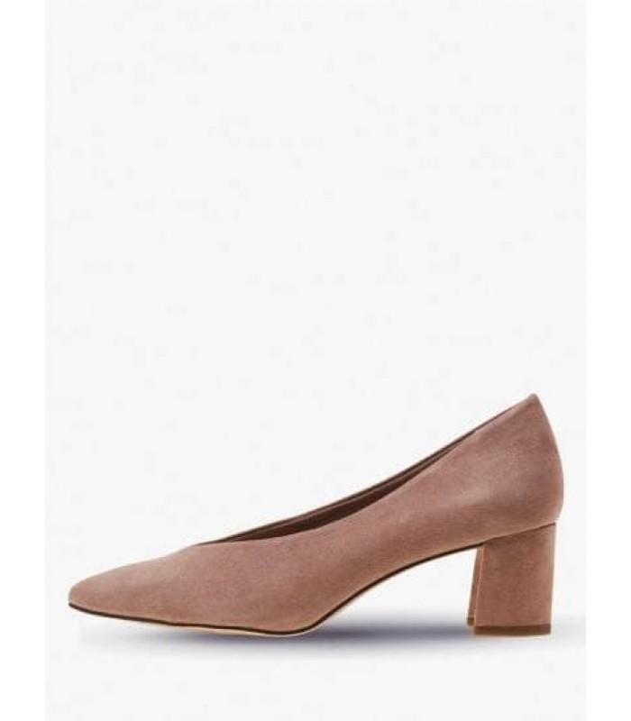 Туфлі бежеві замшеві на широкому каблуку