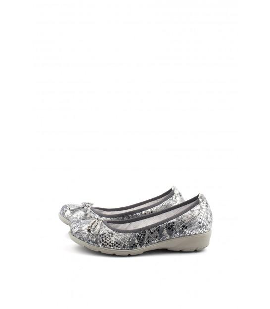 Балетки срібні з бантом зі шкіри рептилії - Respected-Person