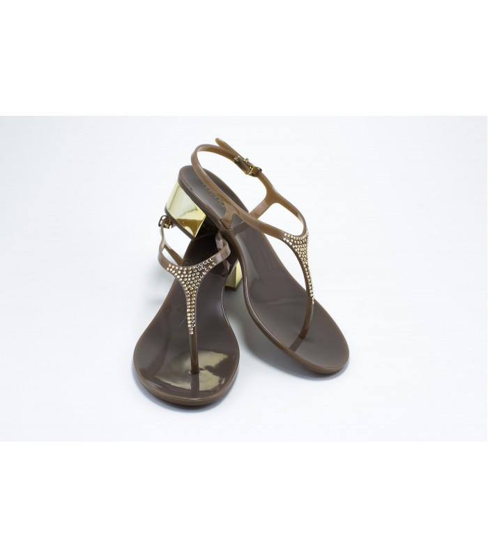 Босоніжки коричневі з камінням силіконові на каблуку