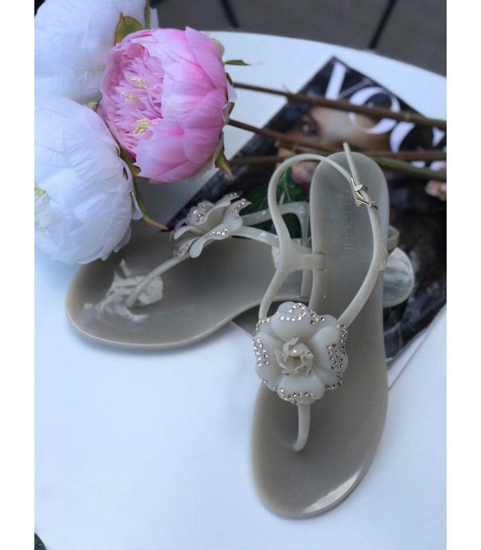 Босоніжки-в`єтнамки сіро-бежеві з квіткою