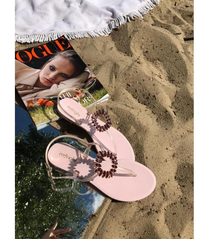 Босоніжки-в`єтнамки рожеві силіконові з брошкою