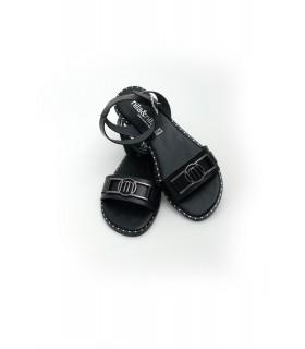 Босоніжки чорні з пряжкою на низькому ходу 1 - Respected-Person