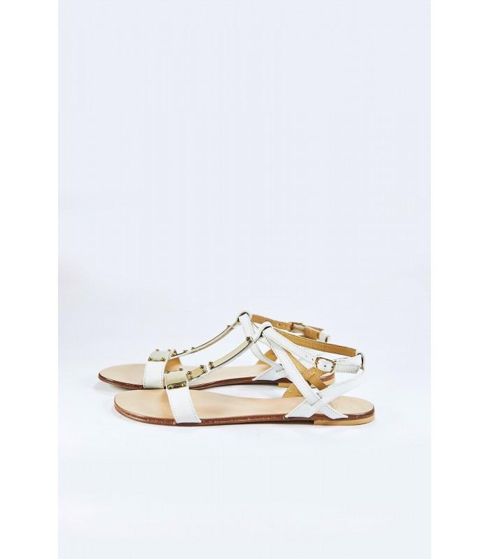 Босоніжки білі шкіряні із золотом на низькому ходу