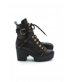 Ботільони чорні шкіряні з ременями на каблуку на хутрі 1 - Respected-Person