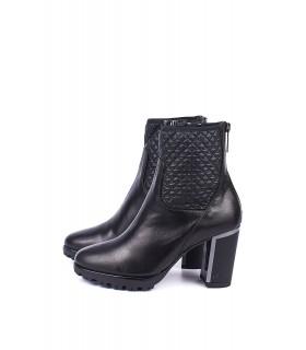 Ботільони чорні шкіряні на каблуку на цигейці - Respected-Person