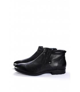 Туфлі чорні на хутрі з фактурної шкіри на замку з резинкою - Respected-Person