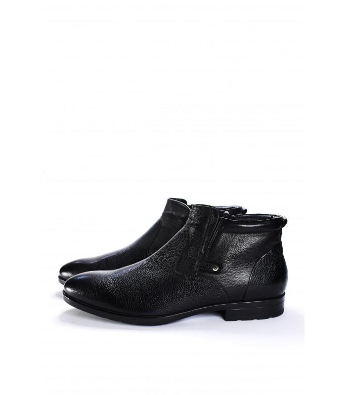 Туфлі чорні на хутрі з фактурної шкіри на замку з резинкою