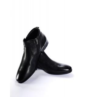 Туфлі чорні на хутрі з фактурної шкіри на замку з резинкою 1 - Respected-Person