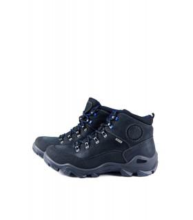 Черевики чорні шкіряні на фігурній підошві з синьою шнурівкою - Respected-Person
