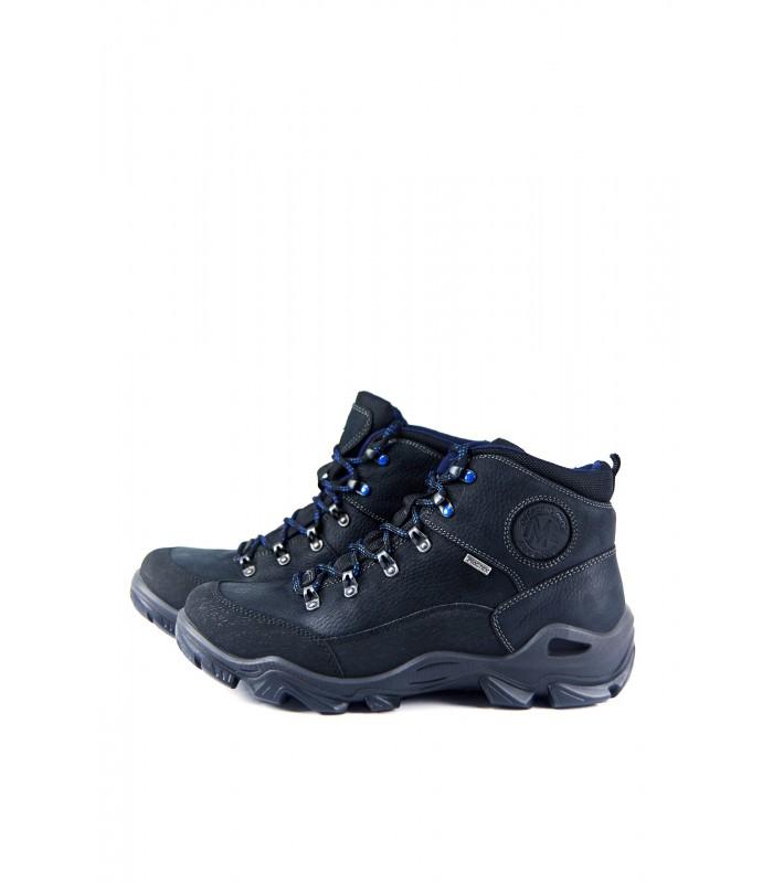 Черевики чорні шкіряні на фігурній підошві з синьою шнурівкою