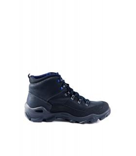 Черевики чорні шкіряні на фігурній підошві з синьою шнурівкою 1 - Respected-Person