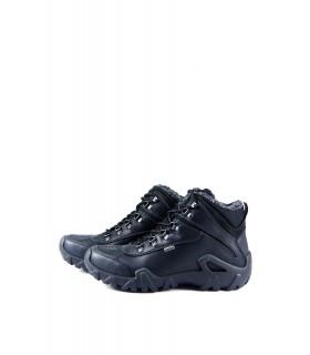 Черевики чорні спортивні з натуральної шкіри на фігурній підошві на хутрі - Respected-Person