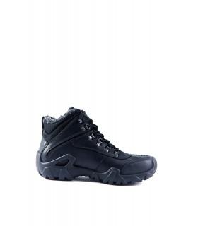 Черевики чорні спортивні з натуральної шкіри на фігурній підошві на хутрі 1 - Respected-Person