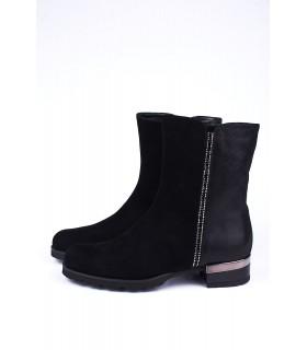 Черевики чорні замшеві з камінням на каблуку - Respected-Person