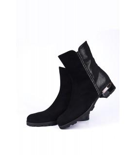 Черевики чорні замшеві з камінням на каблуку 1 - Respected-Person