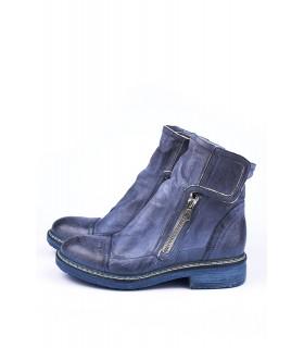 Черевики сині з вінтажної шкіри на липучках - Respected-Person