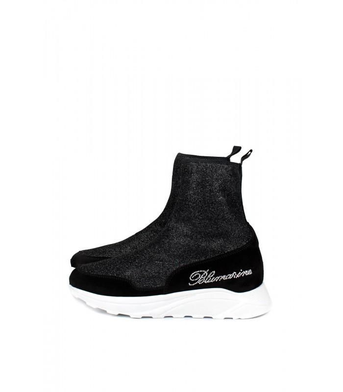 Кросівки високі чорні стрейчеві блискучі