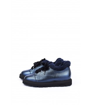 Черевики сині з натуральної шкіри на шнурівці з хутром