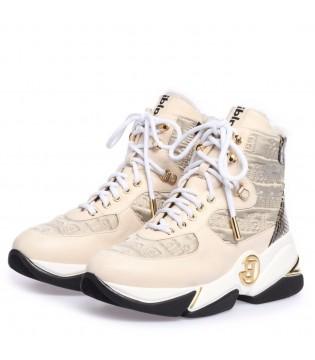 Черевики бежеві високі на шнурівці на хутрі
