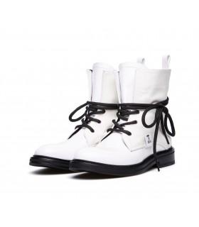 Черевики білі комбіновані на чорній шнурівці - Respected-Person