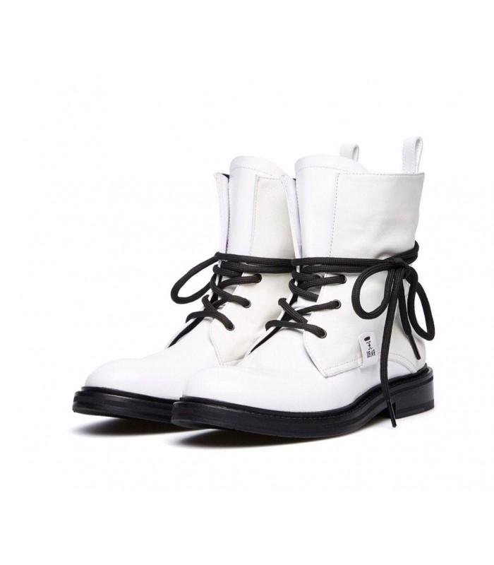 Черевики білі комбіновані на чорній шнурівці