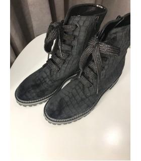 Черевики чорні оксамитові на шнурівці 1 - Respected-Person
