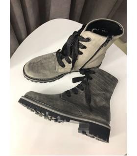 Черевики сірі оксамитові на шнурівці 1 - Respected-Person