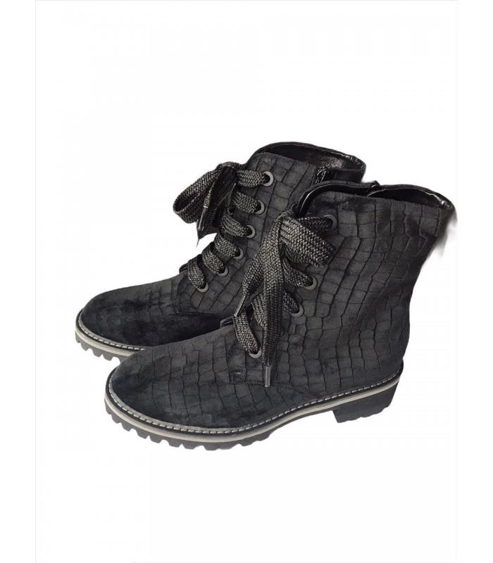 Черевики чорні оксамитові на шнурівці