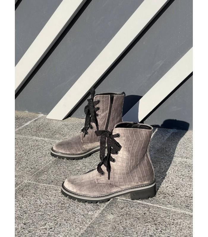 Черевики сірі оксамитові на шнурівці