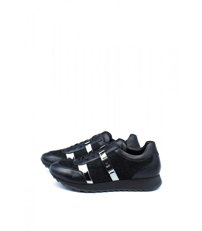 Кросівки чорні шкіряні з вставками із текстилю