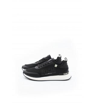 Кросівки чорні з текстилю та шкіри
