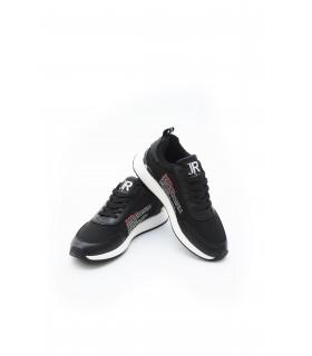 Кросівки чорні з текстилю та шкіри 1 - Respected-Person