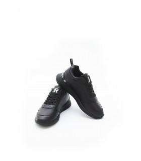 Кросівки чорні шкіряні з білим надписом 1 - Respected-Person