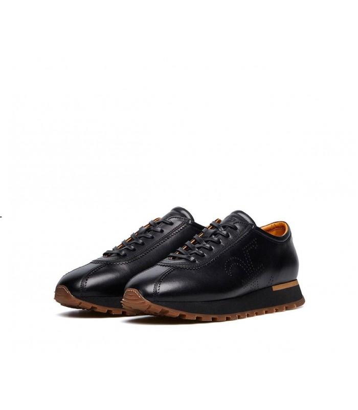 Кросівки чоловічі чорні з коричневим з натуральної шкіри